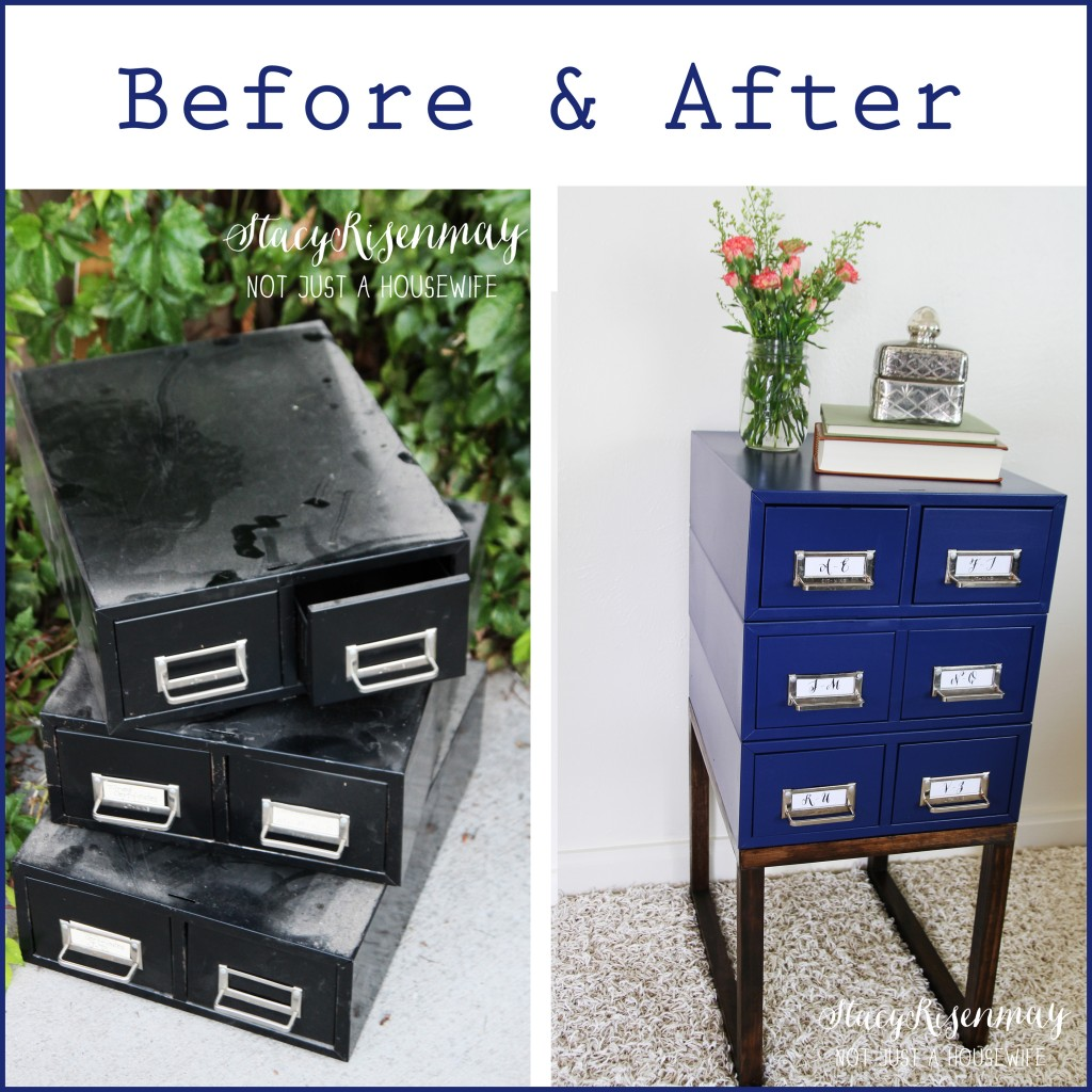 card catalog turned side table