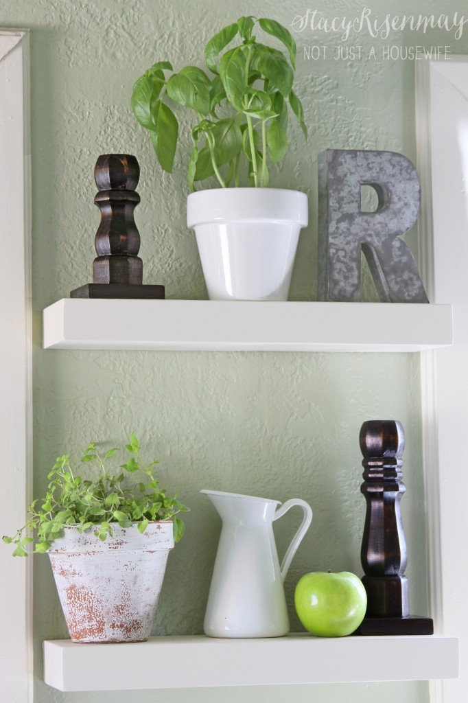 floating shelves- in the kitchen