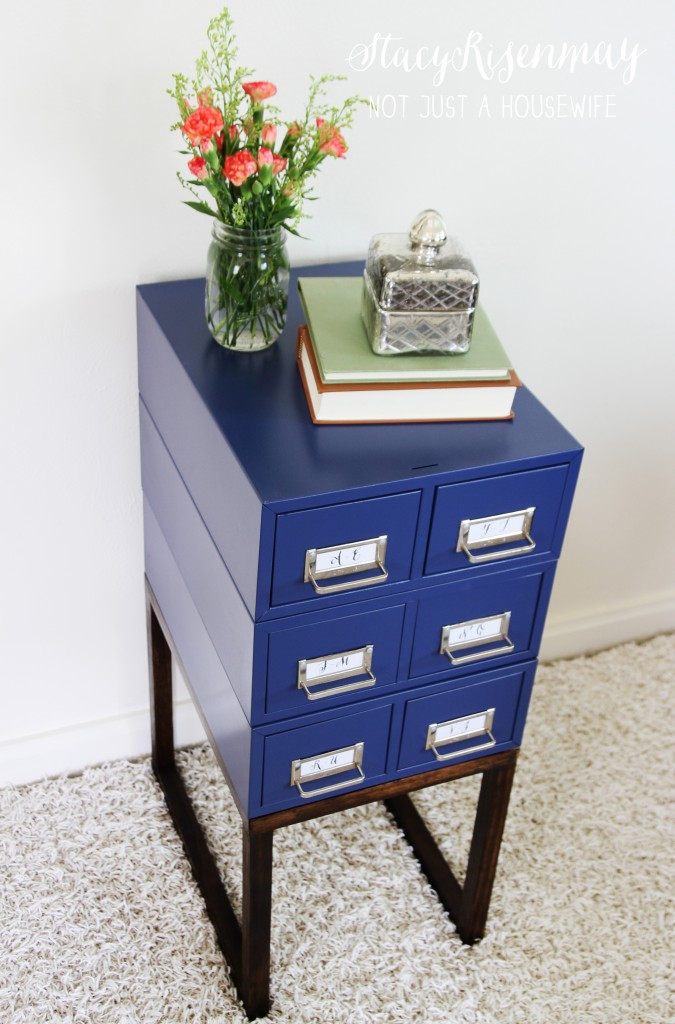 navy card catalog table