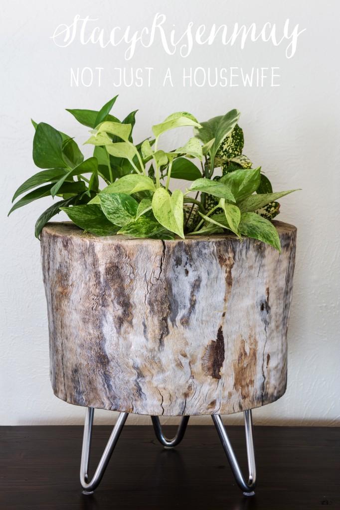 modern log planter