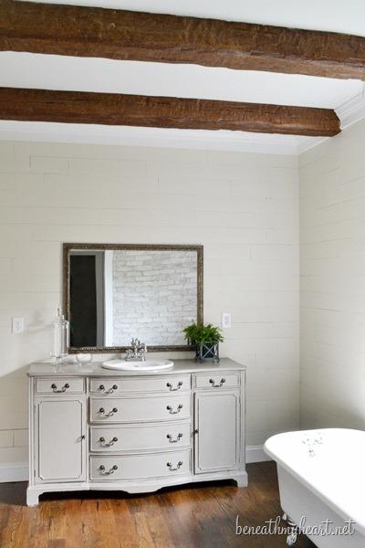 beams in bathroom