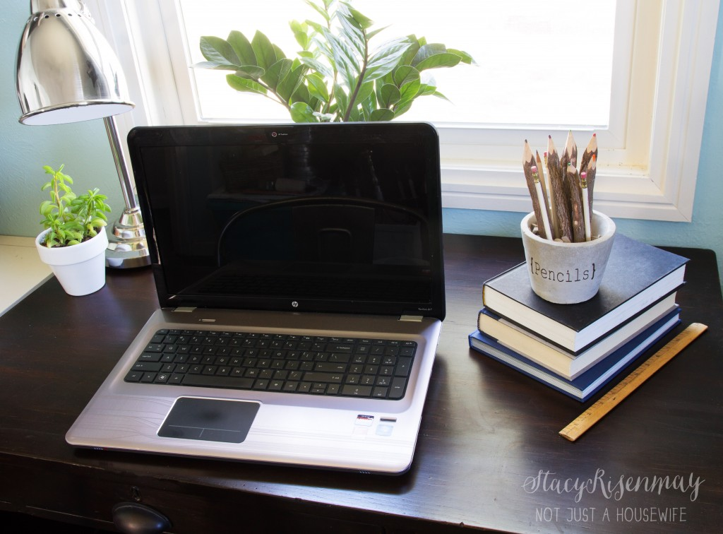 desk with cement pencil holder