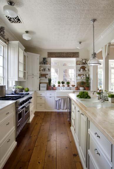 tin ceiling in kitchen