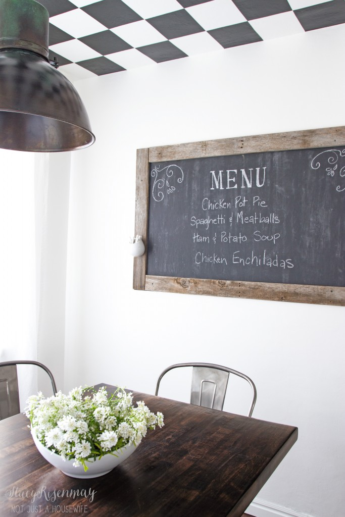 menu chalkboard in dining room