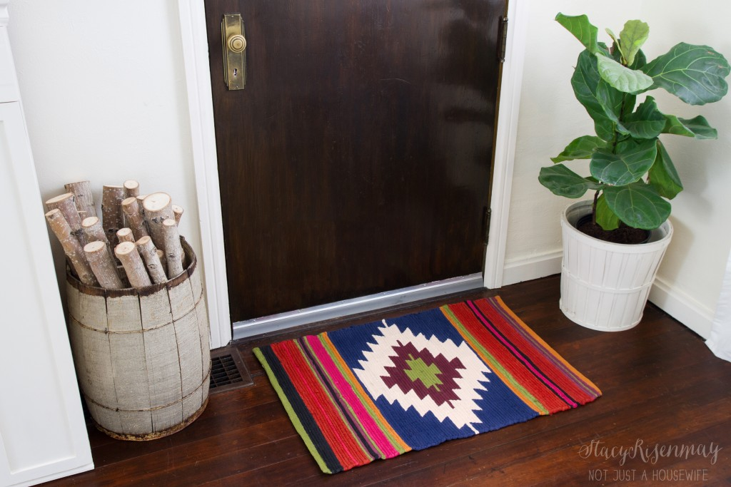 Hand painted rug inspried by Turkish kilim rugs