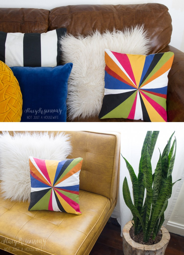 hand painted color burst pillow