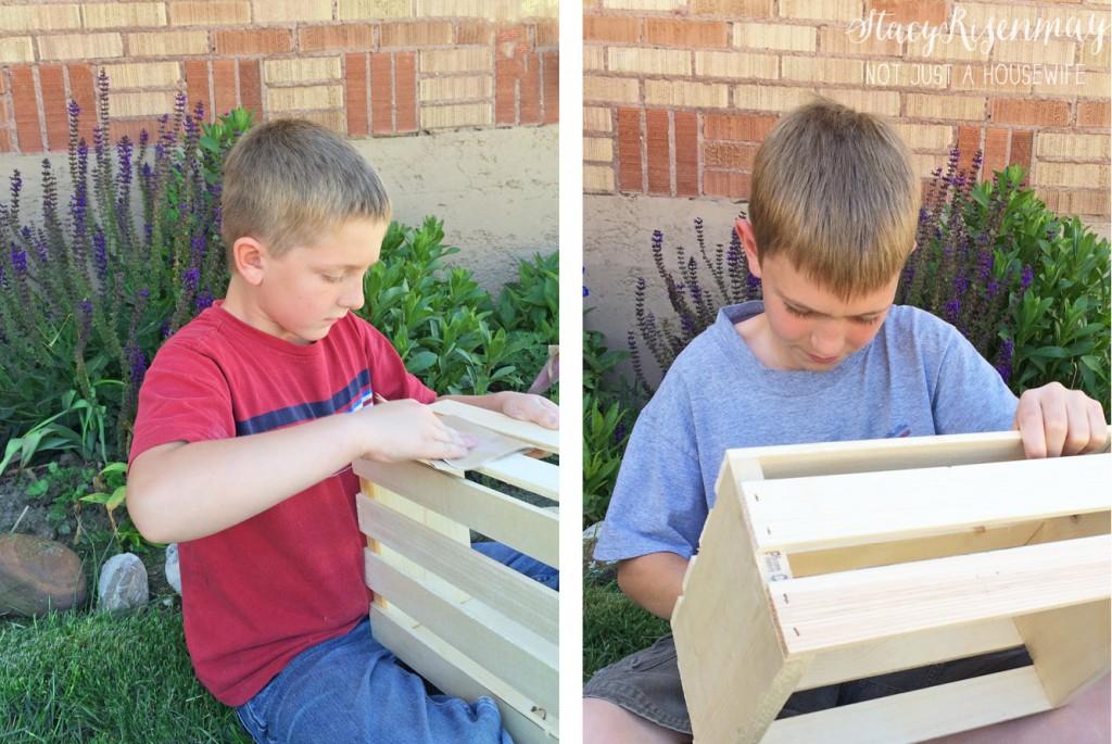 kids sanding crates
