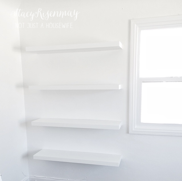 white walls with shelves