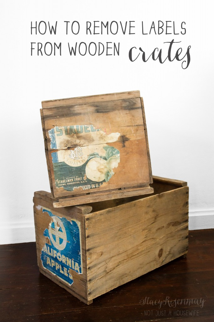 How to remove labels from old wooden crates