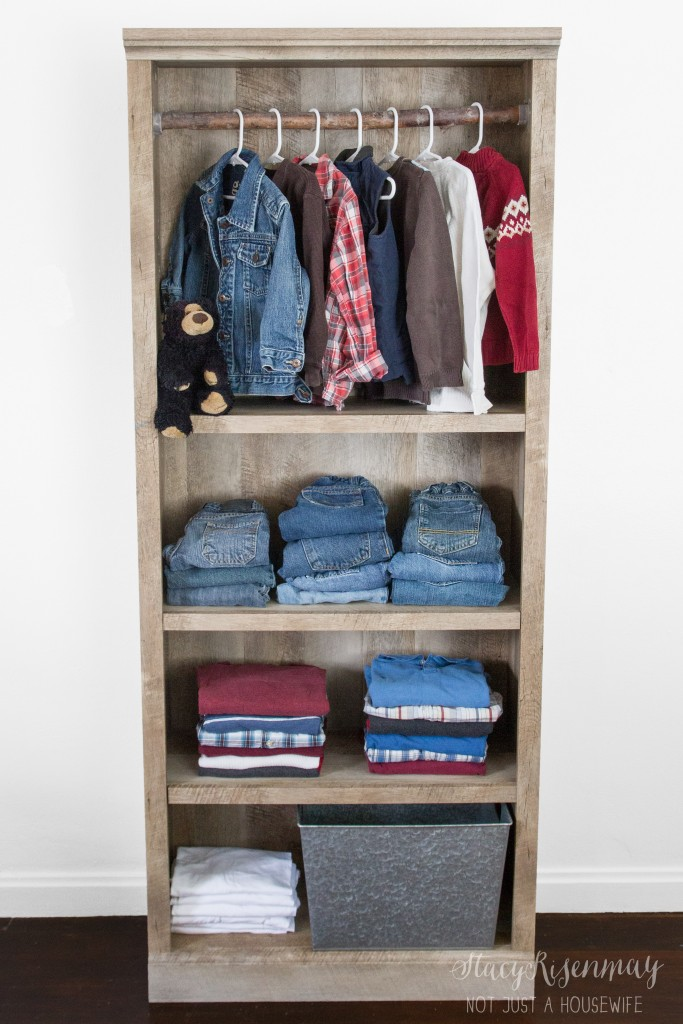 Use a bookcase as closet!