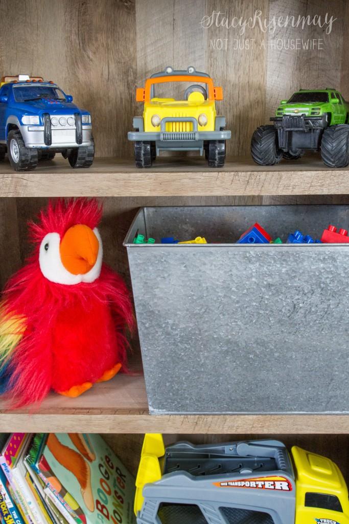 toys on bookshelf - storage