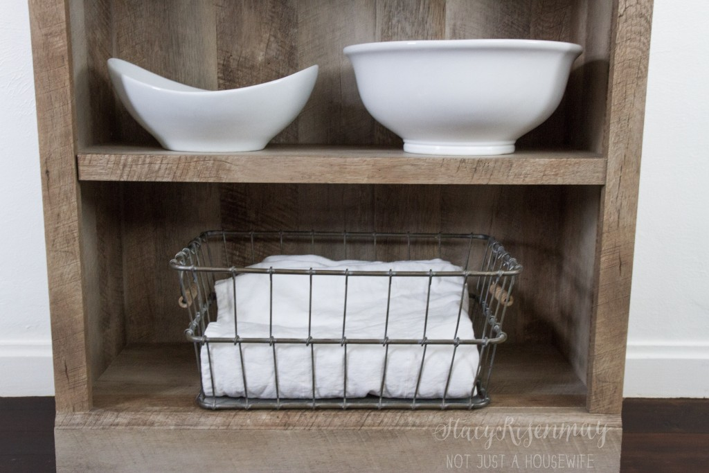 use a bookshelf as kitchen hutch