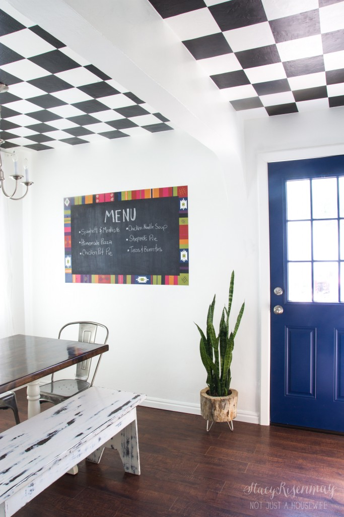 colorful dining room - I love the blue door!
