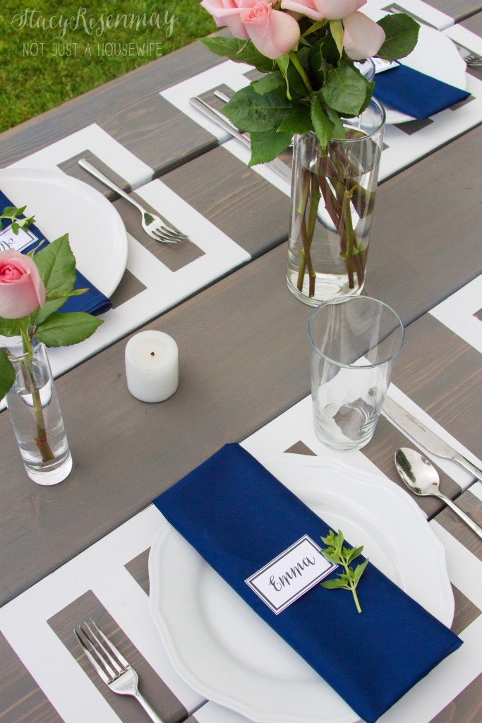 picnic table styled with pink and navy