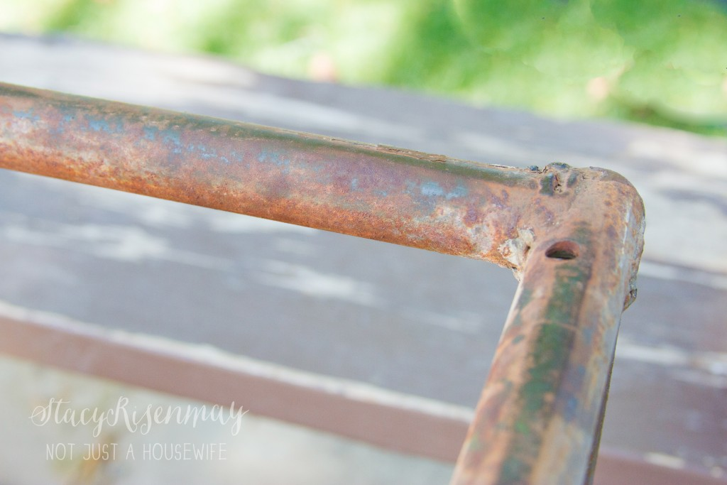 rusted picnic table frame