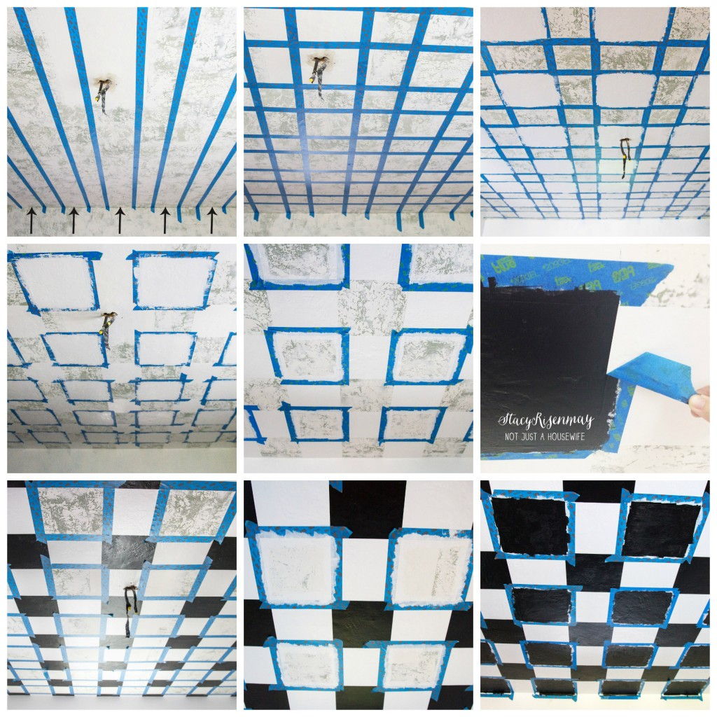 Steps in painting checkerboard pattern