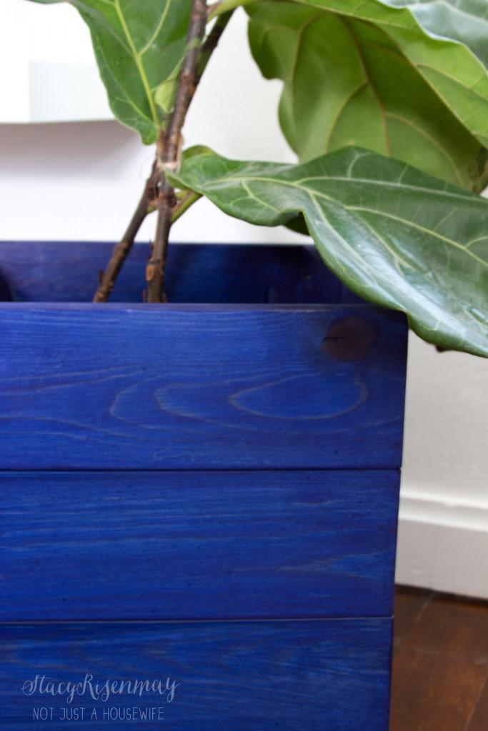 blue planter upclose