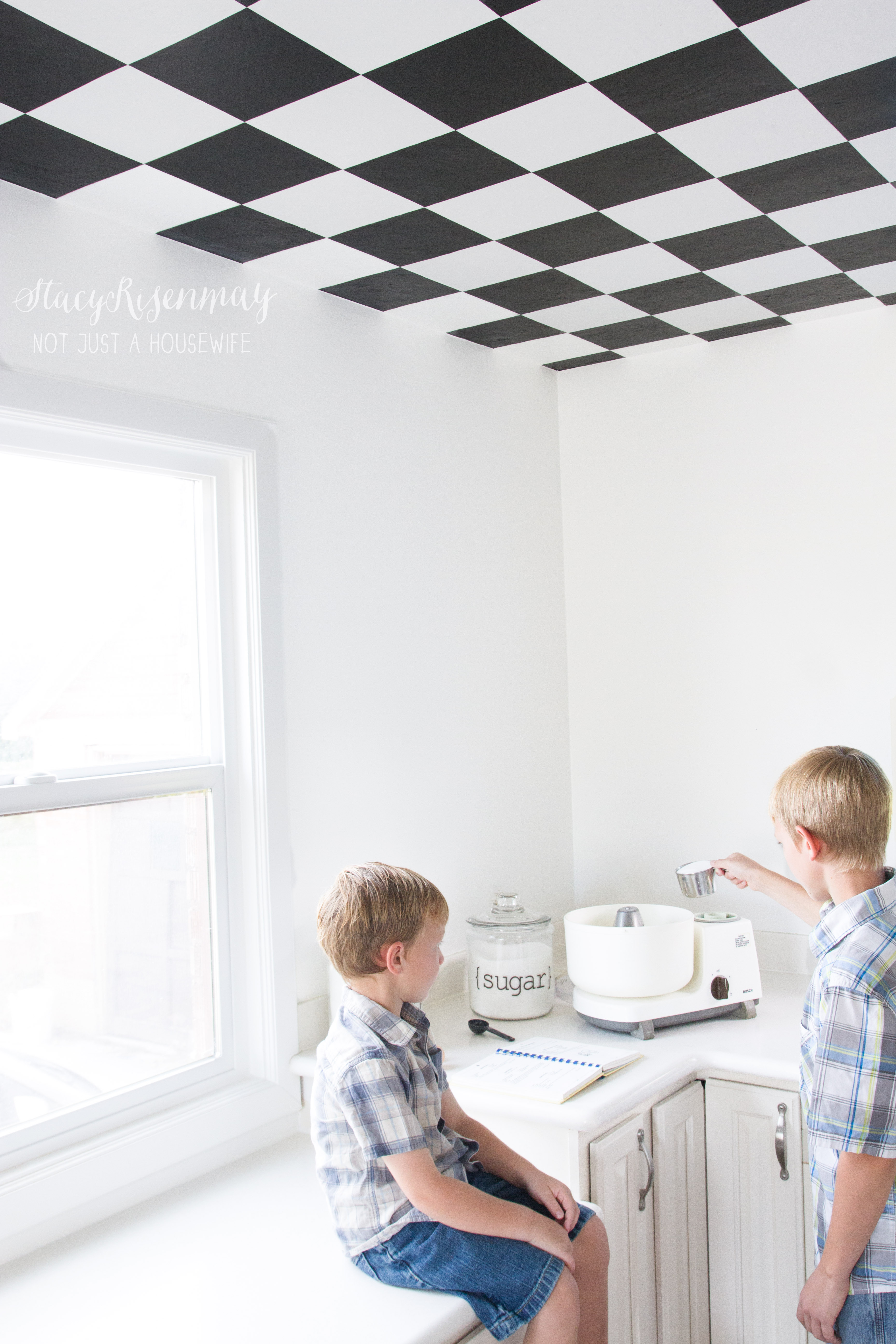 Checkered Ceiling In Kitchen {Tutorial} - Stacy Risenmay