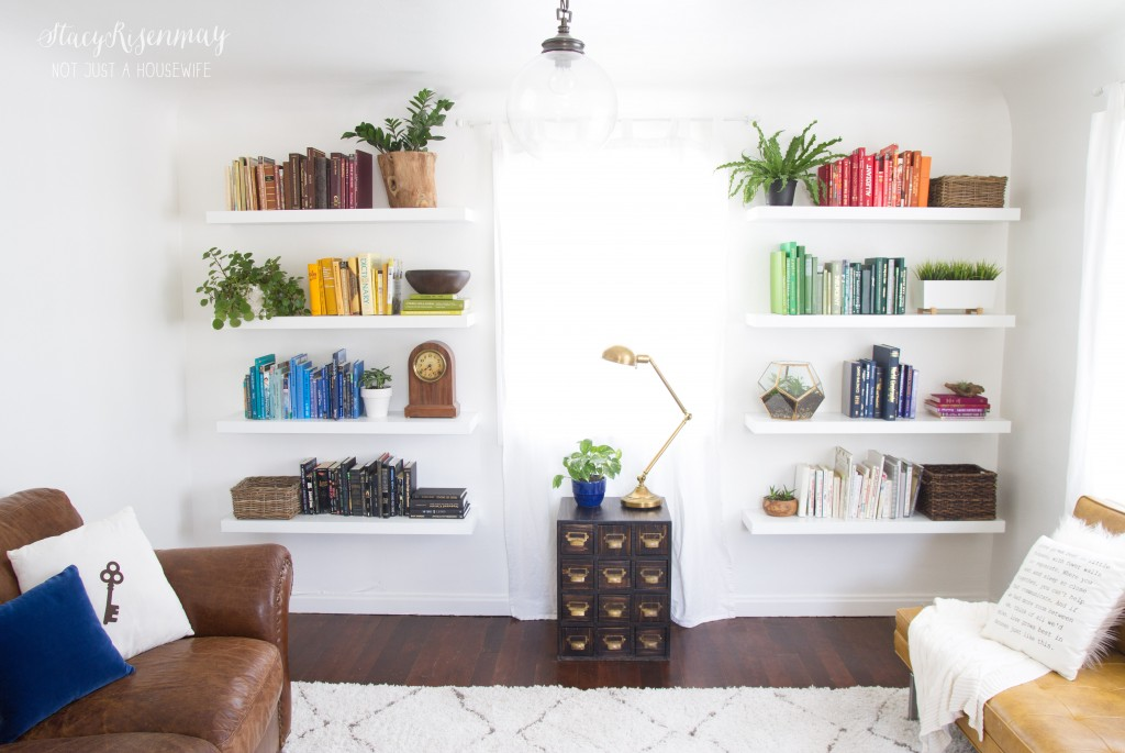 family room - colorful bookshelves