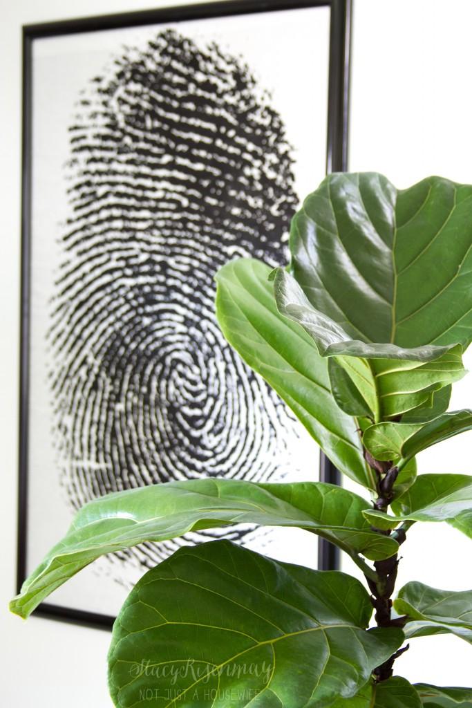 fiddle leaf tree and fingerprint art