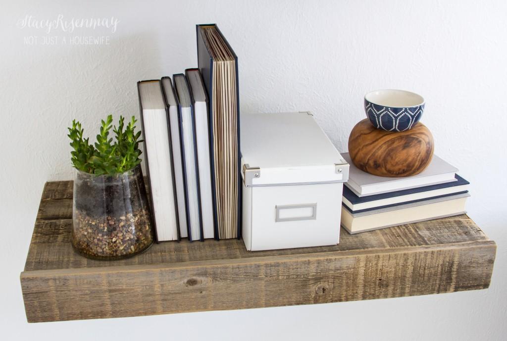 reclaimed wood floating shelf_