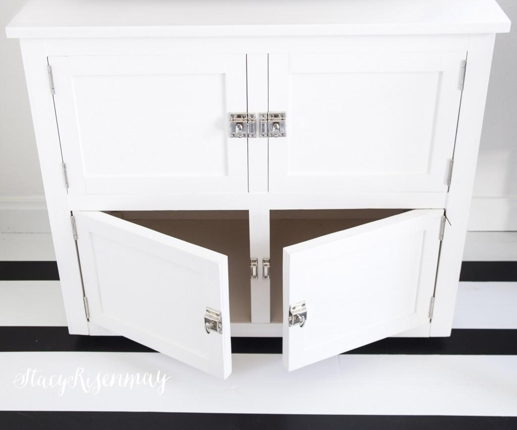 Office cabinet with two doors below and false door on top