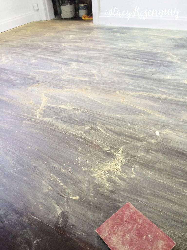prep floors by sanding
