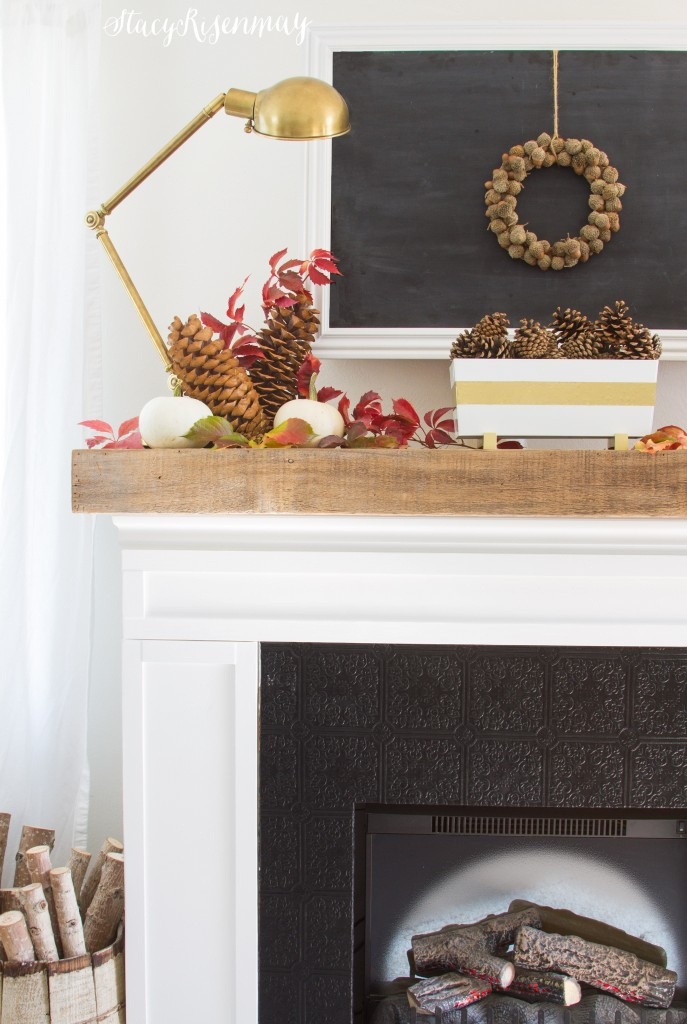 Fall mantel with reds and gold