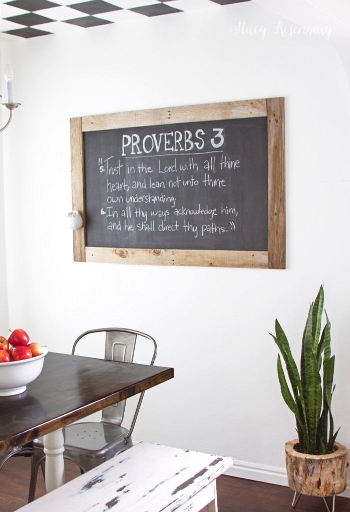dining room with chalkboard