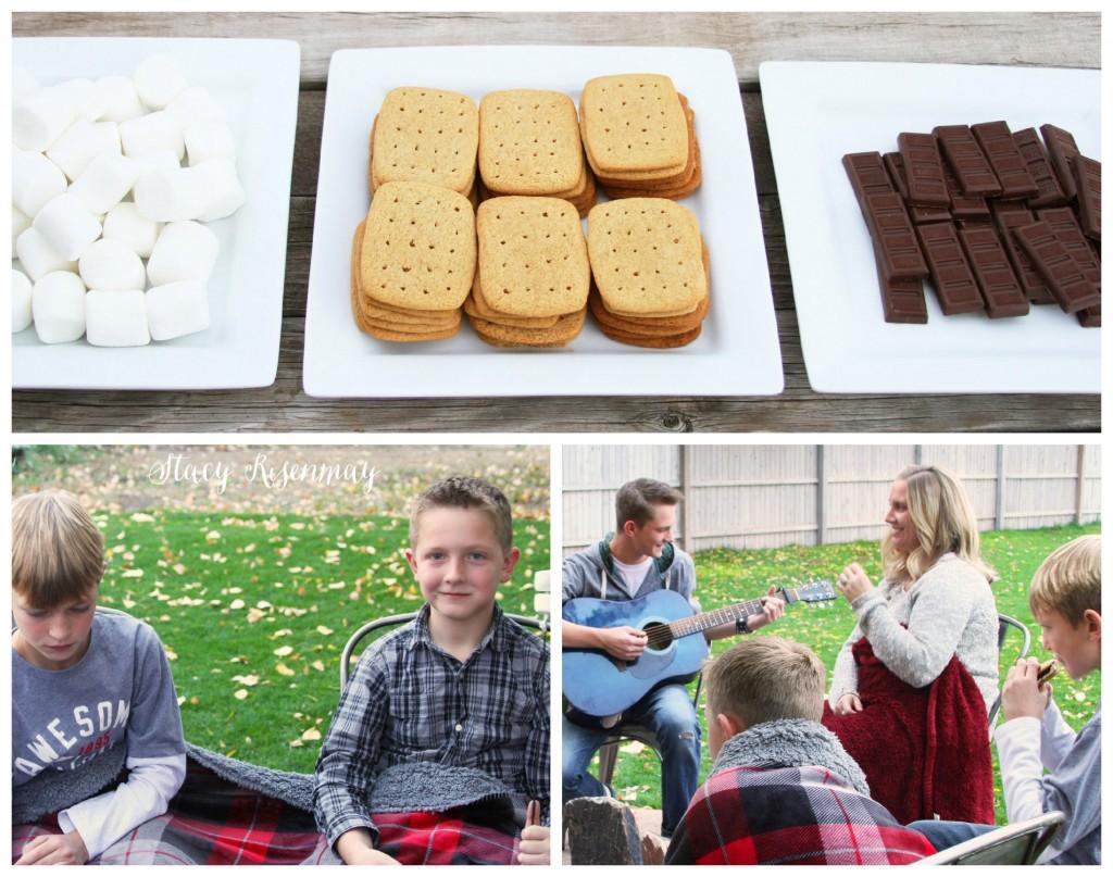 roasting marshmallows with family