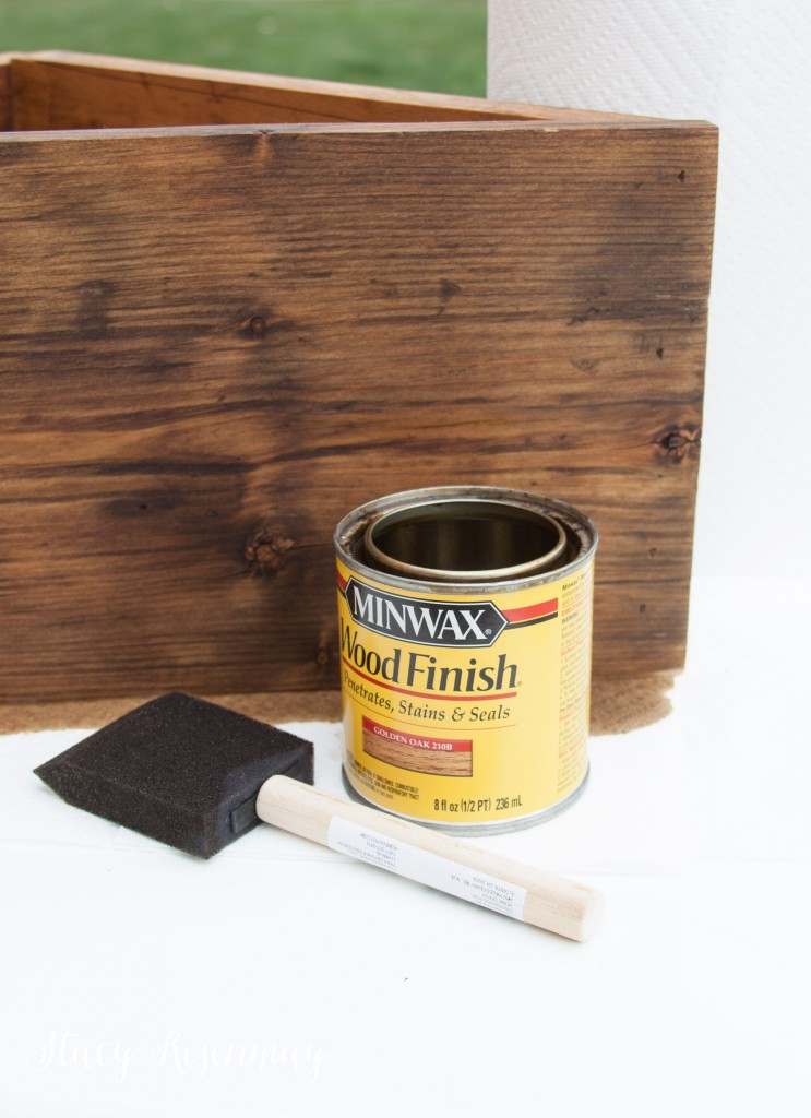 staining crate with golden oak
