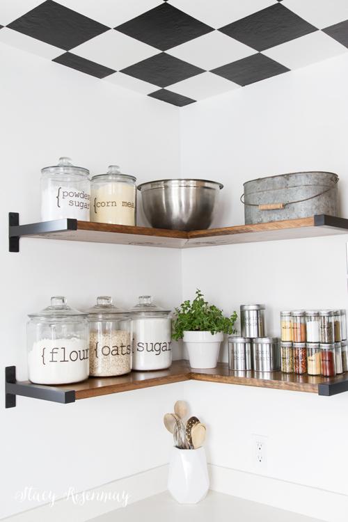 open kitchen shelves for baking supplies