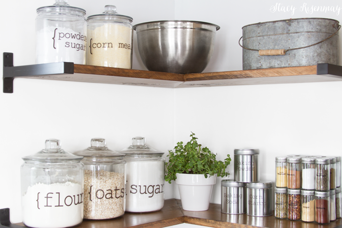 kitchen shelves with baking supplies