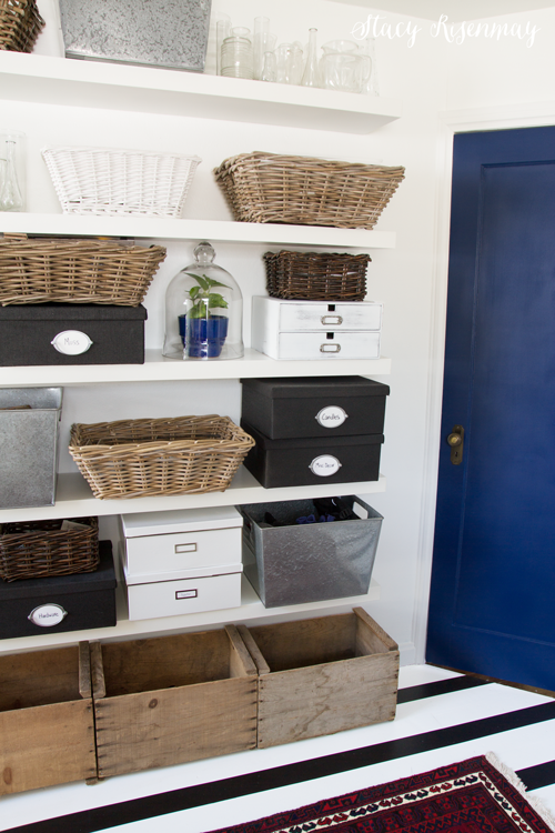 shelves organized with baskets, bins and boxes