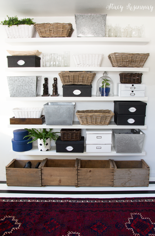 shelves organized with baskets and bins