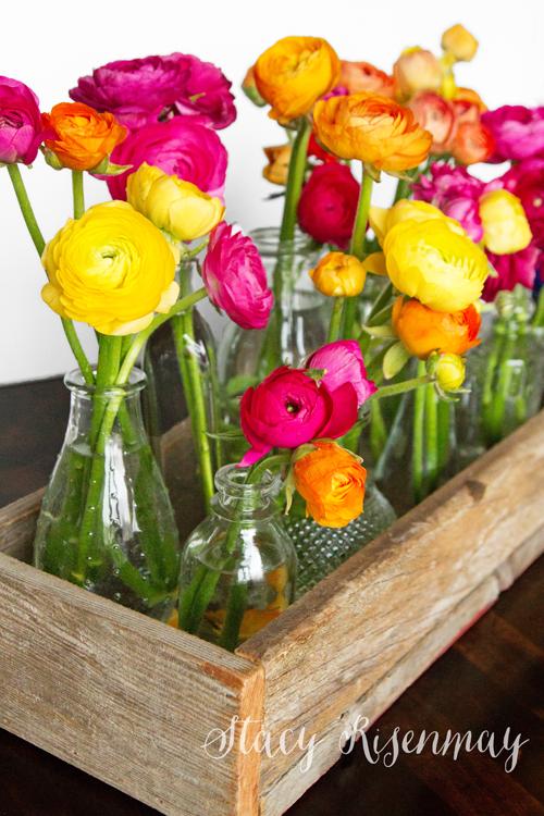 ranunculas-in-glass-vases