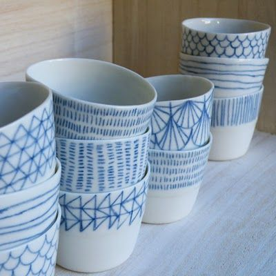 hand drawn lines on dishes
