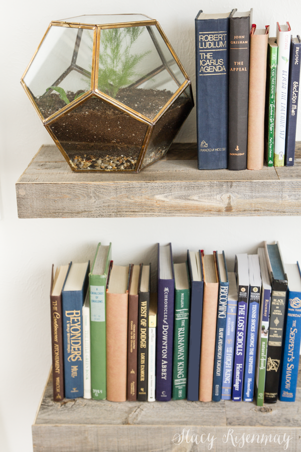IKEA shelves hack with reclaimed wood