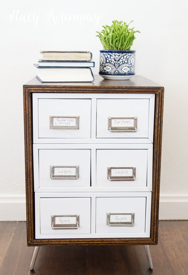 modern card catalog side table