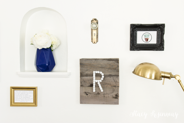 monogrammed barn wood in gallery wall