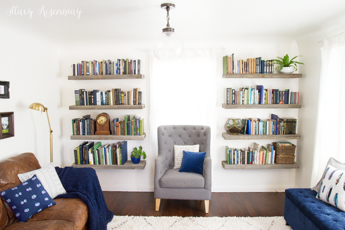 family room book shelves