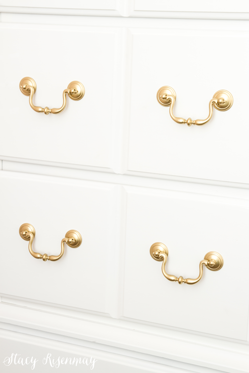 white dresser with gold handles