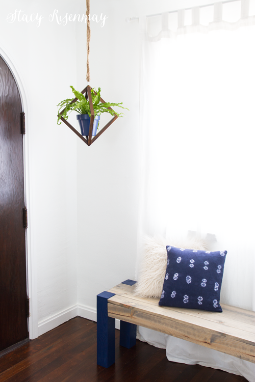 Hanging wood geometric planter