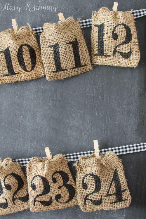 burlap sacks used to make advent calendar