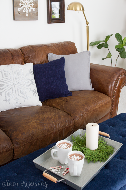 Christmas home tour - love the tufted bench!