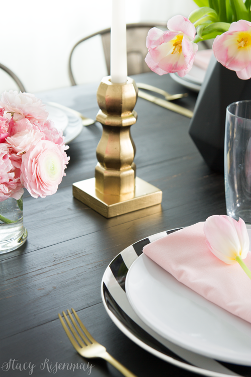 pink-black-and-gold-table-setting