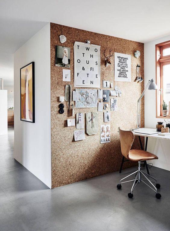 cork wall in office