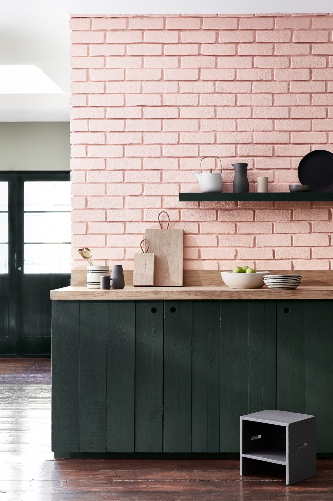 pink brick feature wall
