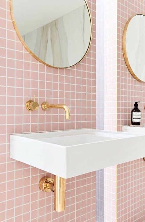 pink bathroom tile