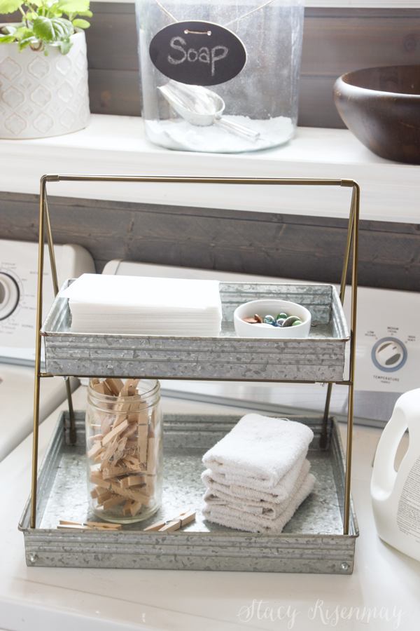 metal tiered tray for laundry supplies